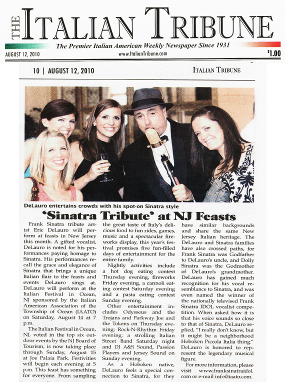 delauro frank sinatra singer tribute impersonator usa rat pack singer ny nj pa ct nyc manhattan new york city